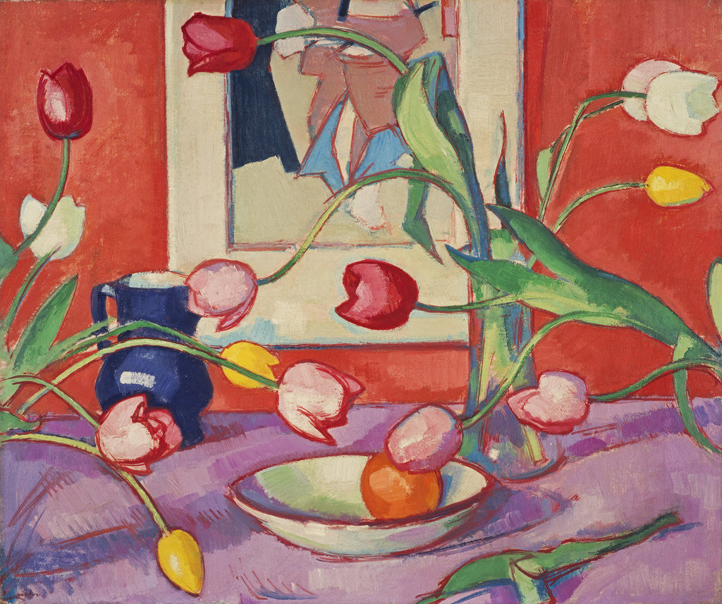 Detail of Tulips - The Blue Jug by Samuel John Peploe