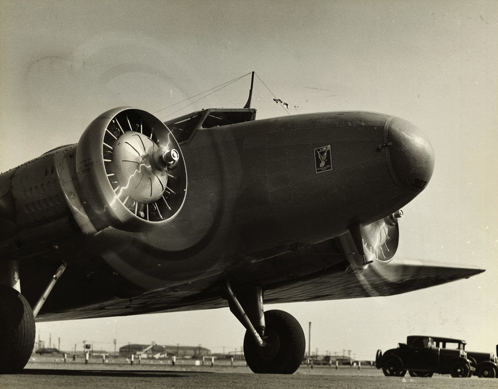Detail of View of Airplane Nose with Propellers Spinning by Corbis