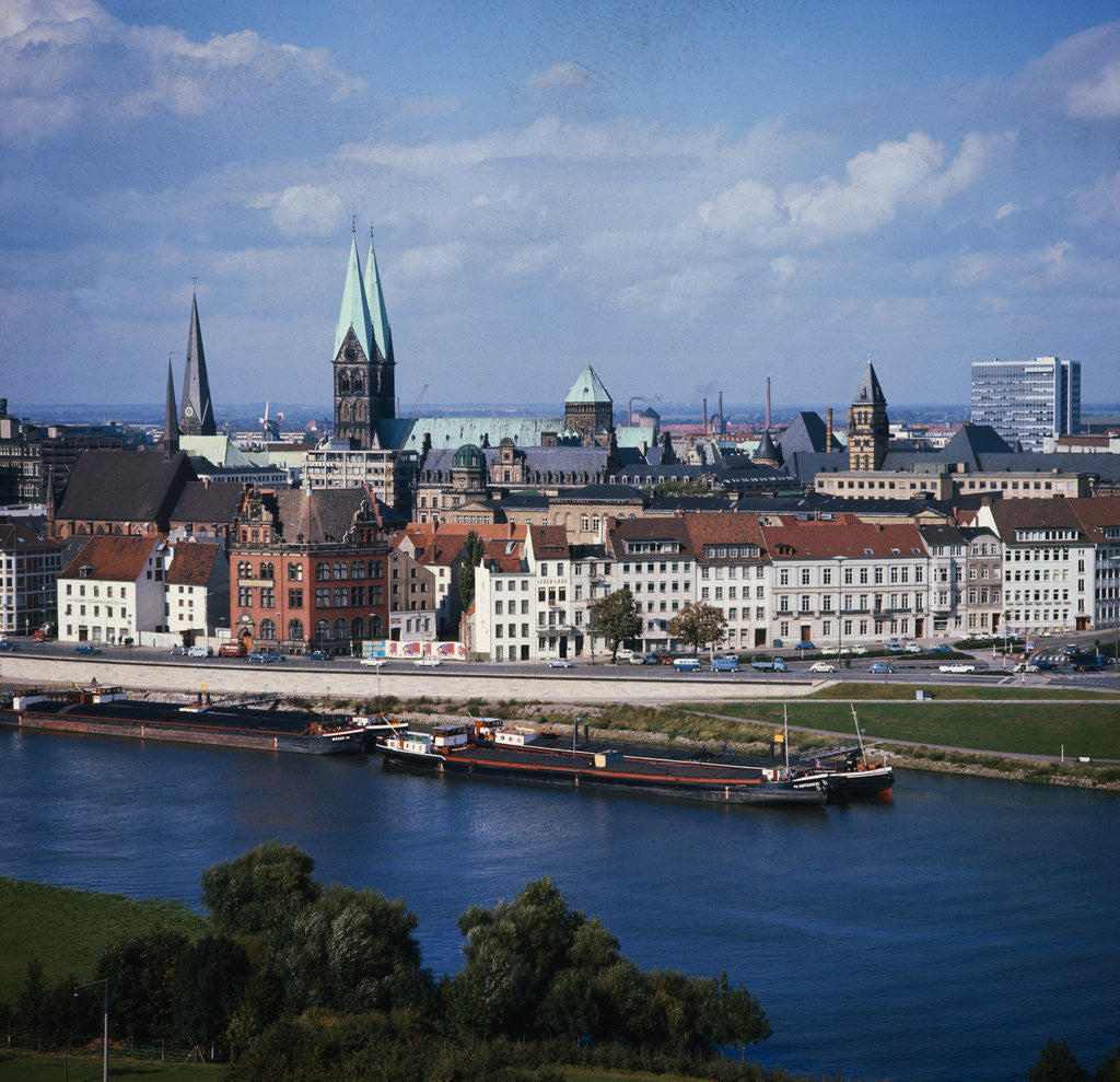 Detail of Weser River and Bremen in Germany by Corbis