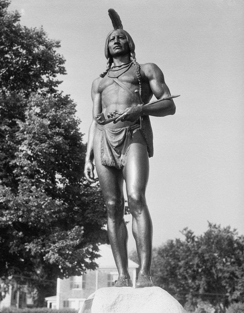 Detail of View of Statue of Massasoit by Corbis