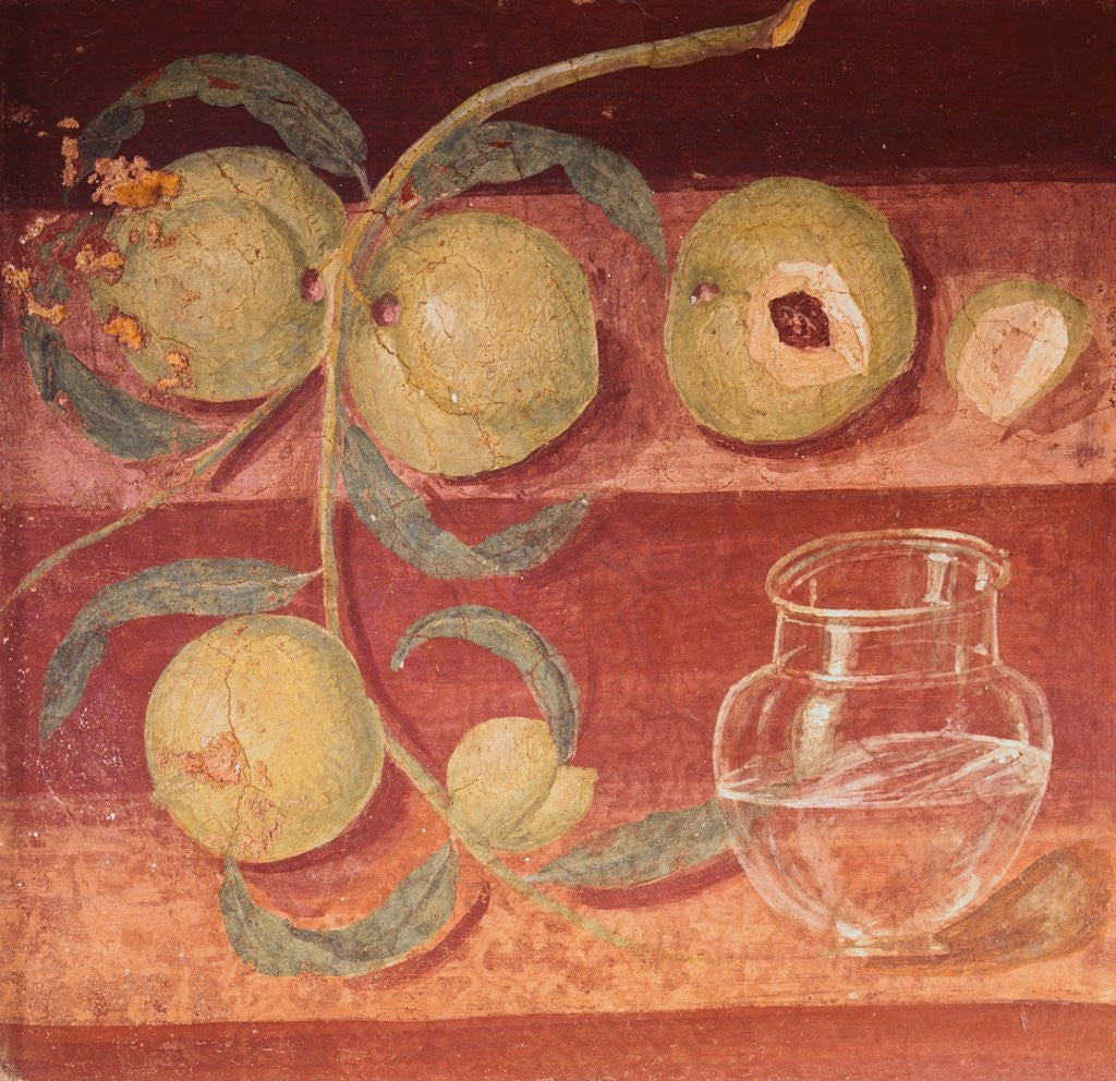 Detail of Fresco of Water Pot and Fruit in Pompeii Kitchen by Corbis