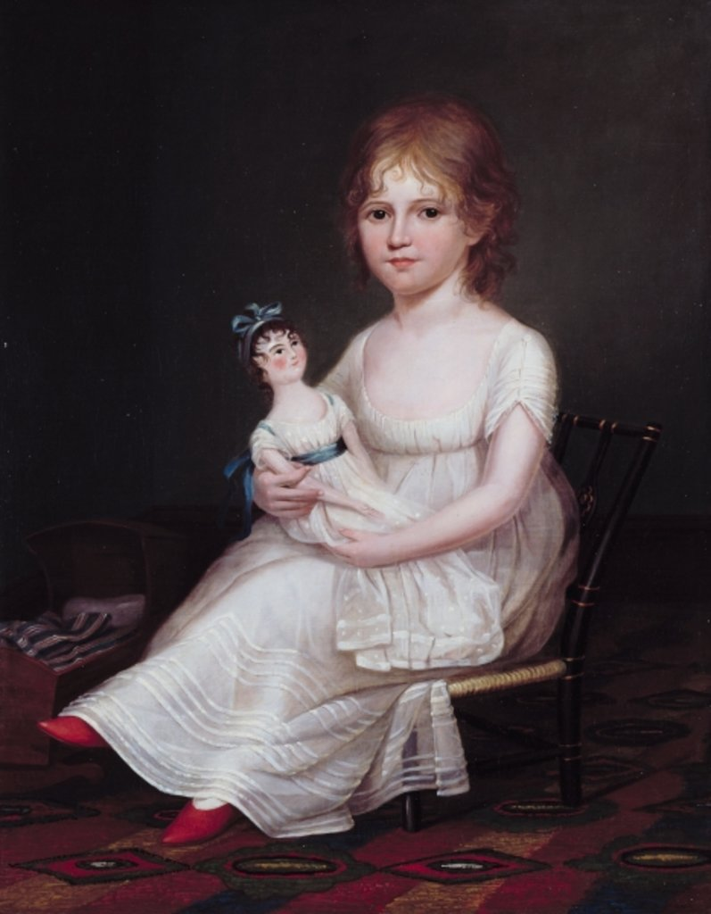 Detail of A Girl Holding a Doll, 1804 by James the Elder Peale
