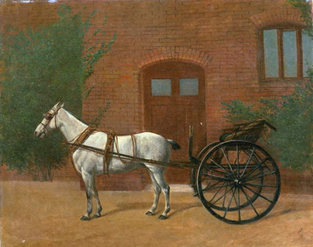 Detail of Horse hitched to a jaunting cart by English School