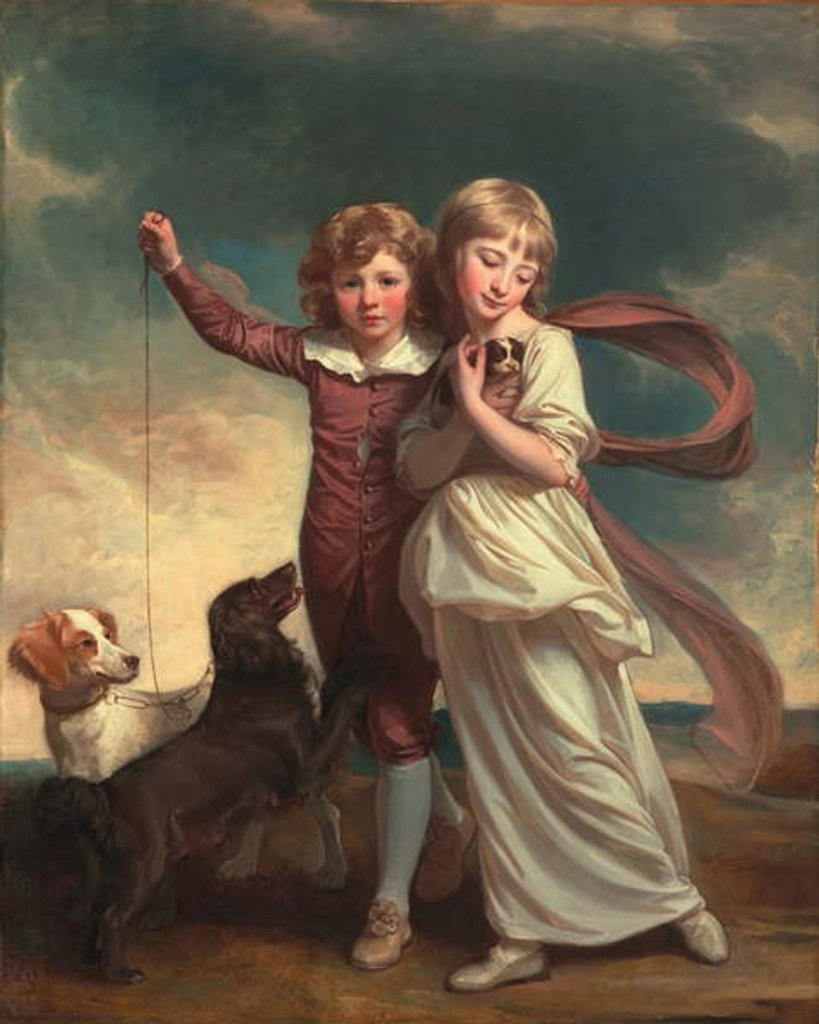 Detail of Thomas John Clavering and Catherine Mary Clavering: The Clavering Children, 1777 by George Romney