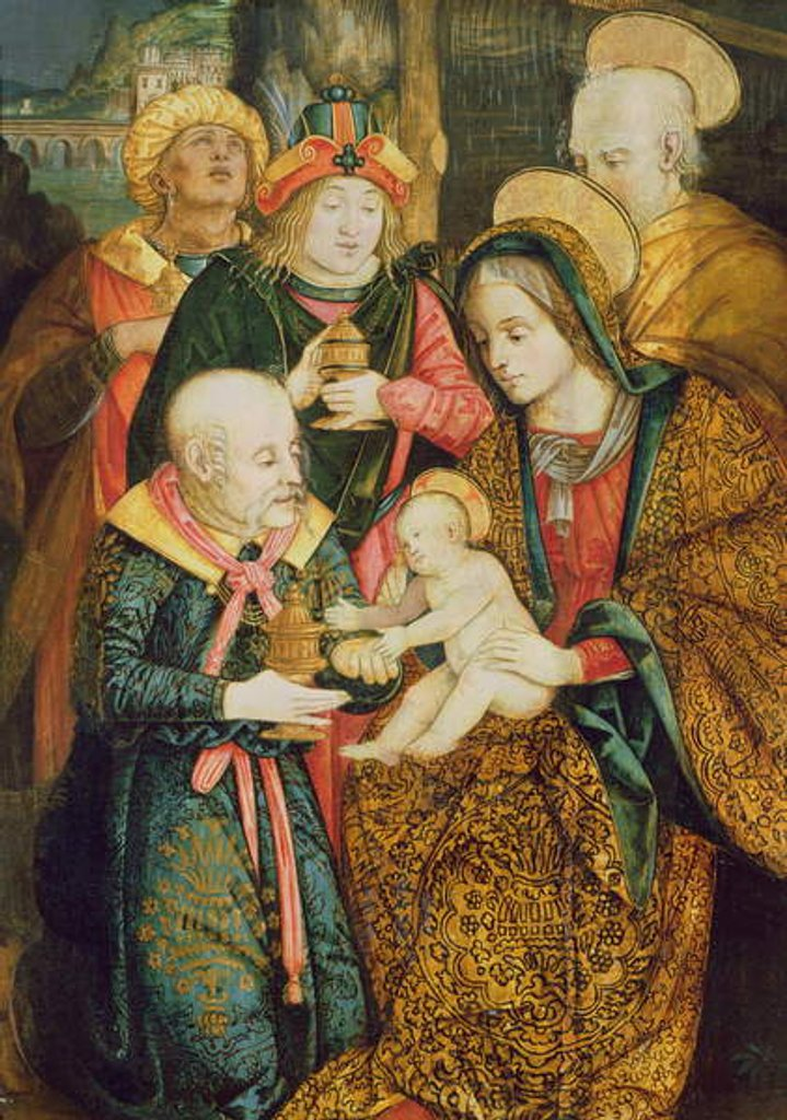 Detail of The Holy Family and the Three Magi by School German