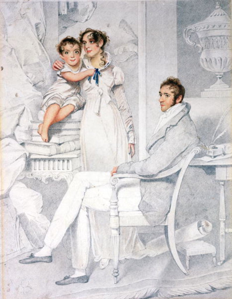 Detail of Mr and Mrs Richmond Thackeray and their son, William Makepeace Thackeray 1814 by George Chinnery