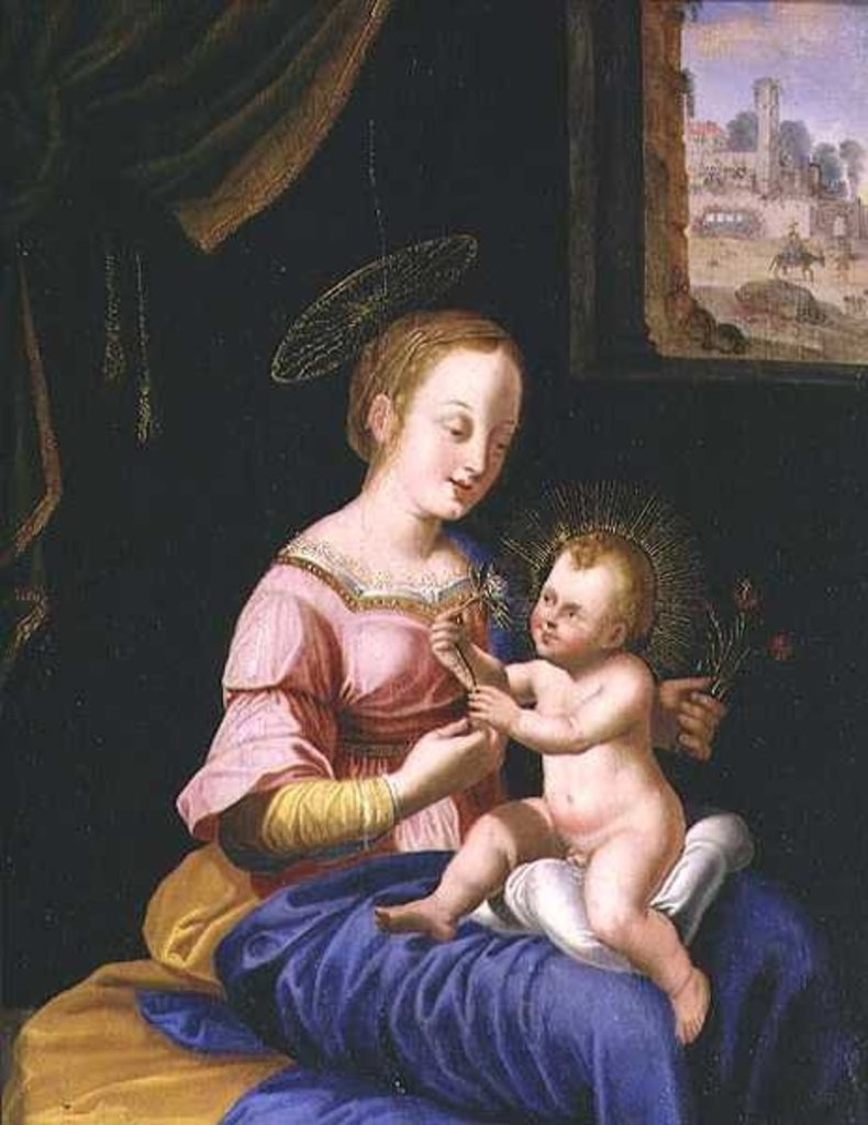 Detail of Virgin and Child with the Flight into Egypt by Flemish School