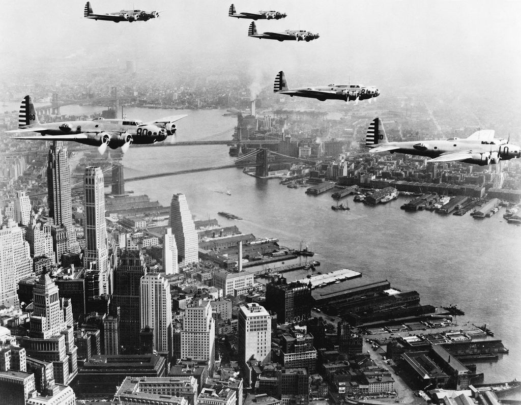 Detail of Bombers Flying in Formation over the Hudson River by Corbis