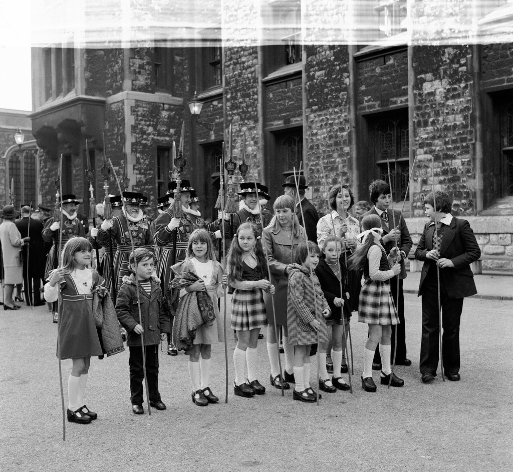 Detail of Children assembled at the Tower of London for the Beating the Bounds, 1975 by Unknown