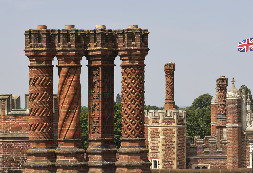 Detail of Decorative chimney stacks, Hampton Court Palace by James Brittain
