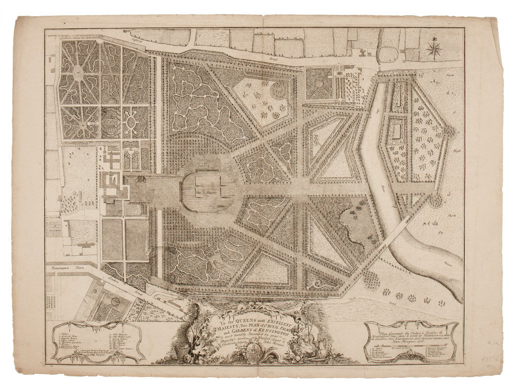 Detail of Plan of the Royal Palace and Gardens of Kensington, 1736 by John Rocque