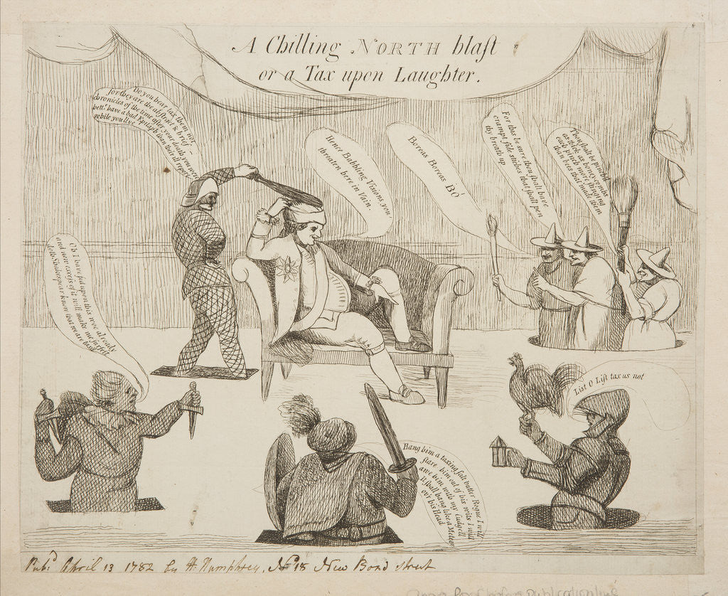 Detail of A chilling North blast or a tax upon laughter, 1782 by Unknown
