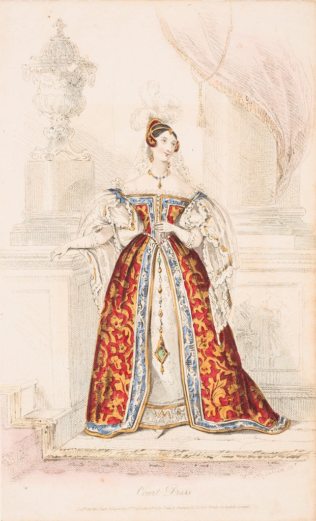 Detail of A lady in court dress of medieval inspiration, 1834 by William Hopwood