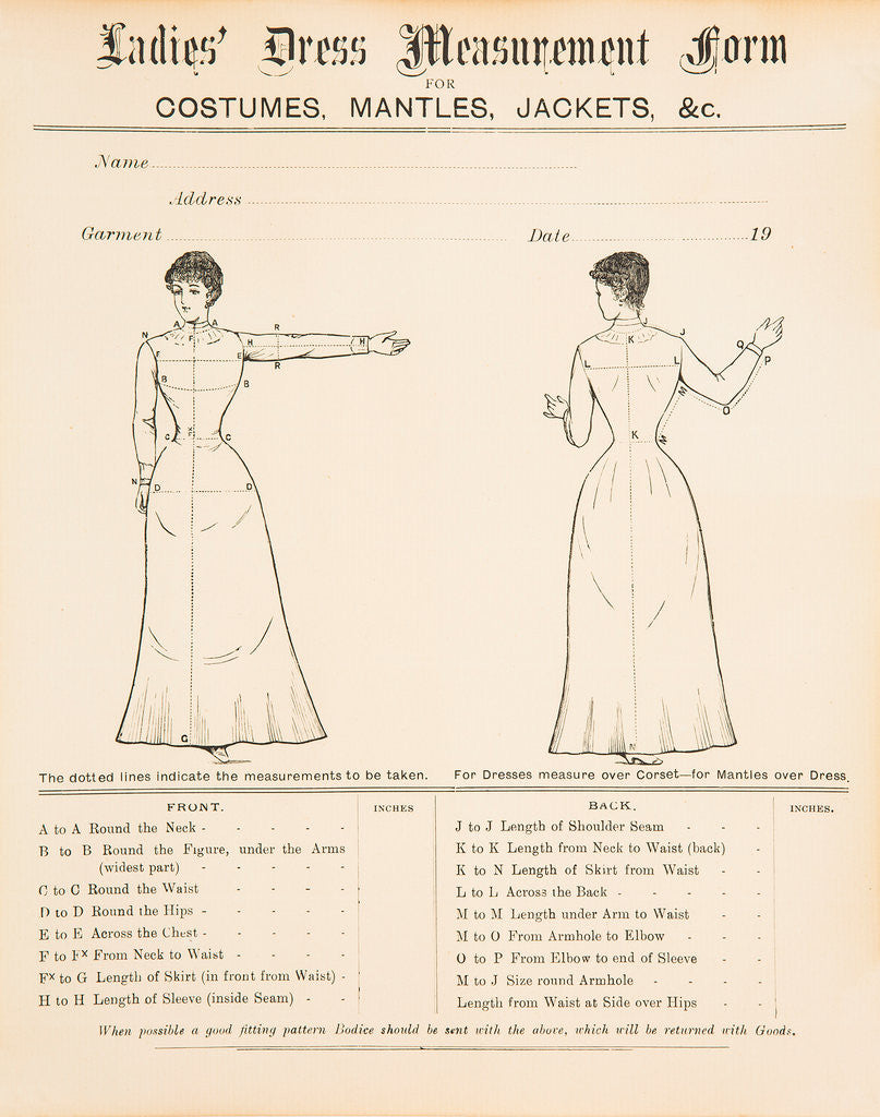 Detail of Ladies' dress measurement form, early 1900s by Unknown