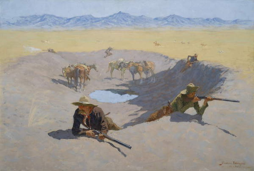 Detail of Fight for the Waterhole, 1903 by Frederic Remington