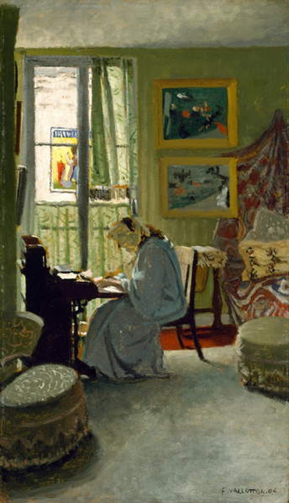 Detail of Woman Writing in an Interior, 1904 by Felix Edouard Vallotton