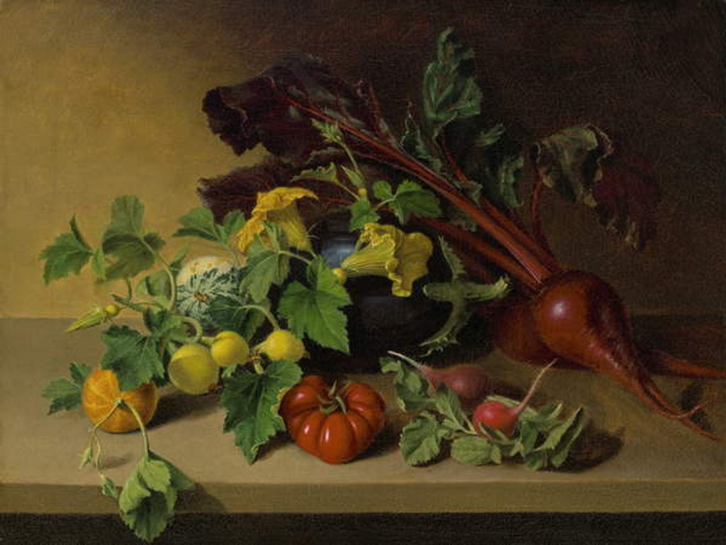 Detail of Still life with Vegetables, 1826 by James the Elder Peale