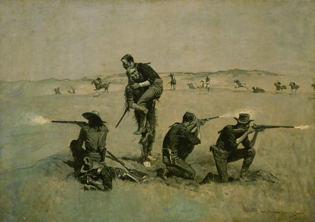 Detail of The Last Stand c.1896 by Frederic Remington