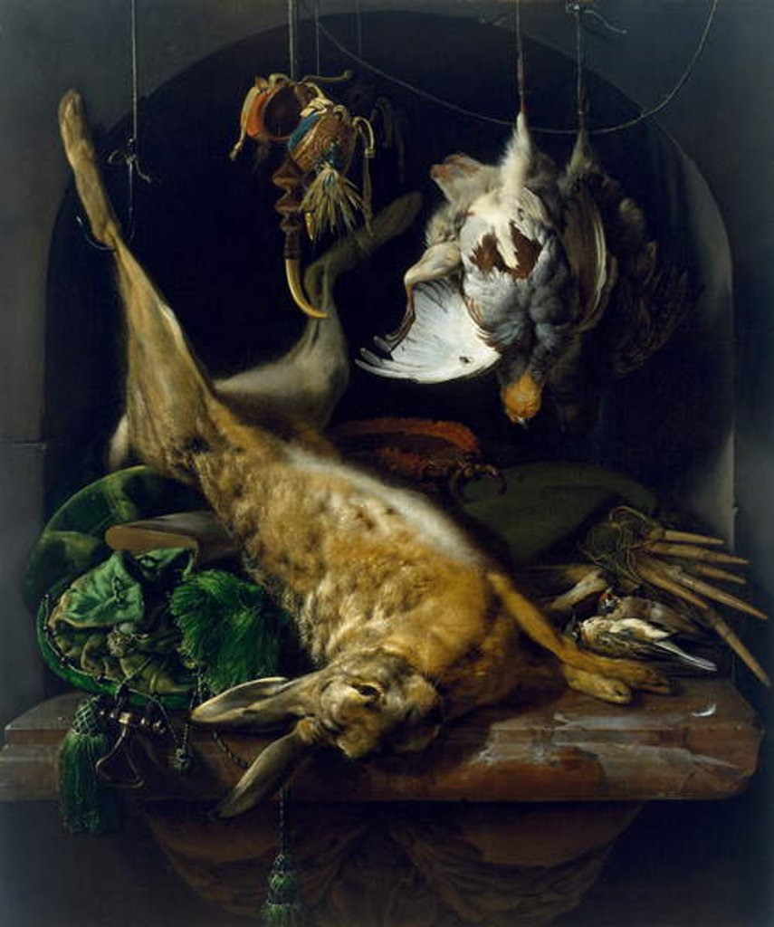 Detail of Still Life with a Dead Hare, Partridges and Other Birds in a Niche, c.1675 by Jan Weenix