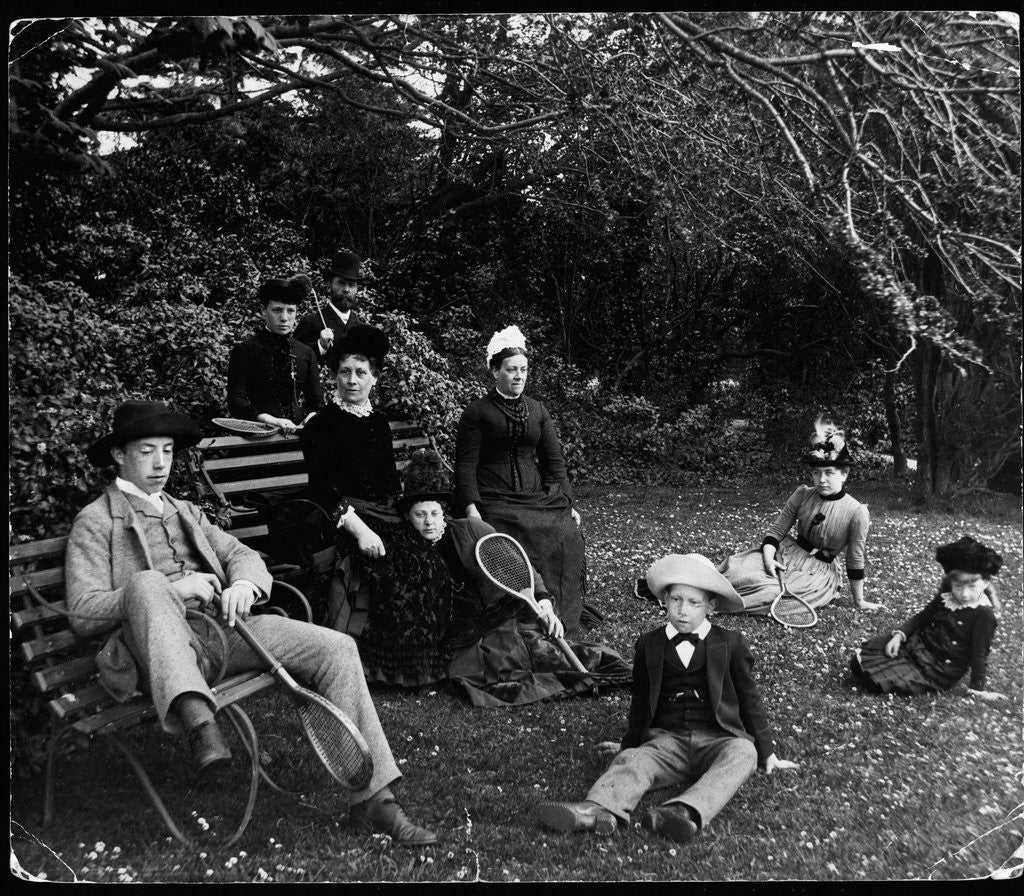 Detail of Group of People With Tennis Rackets by Corbis