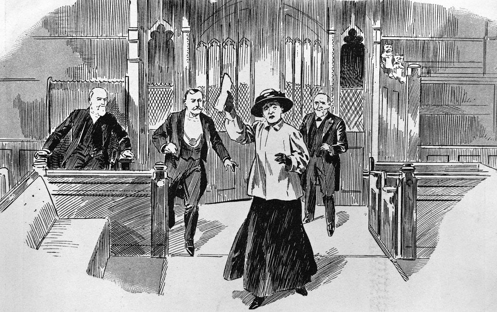 Detail of Cartoon of Suffragette in House of Commons by Corbis