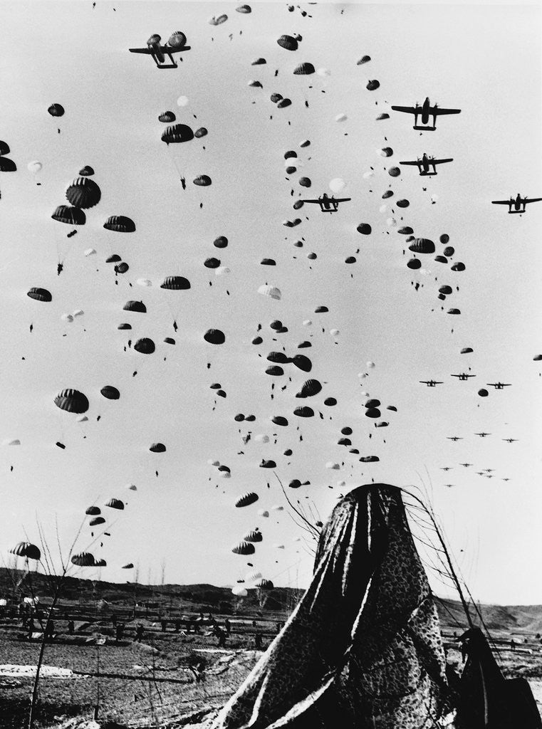 Detail of Troops Parachuting Into Korea by Corbis