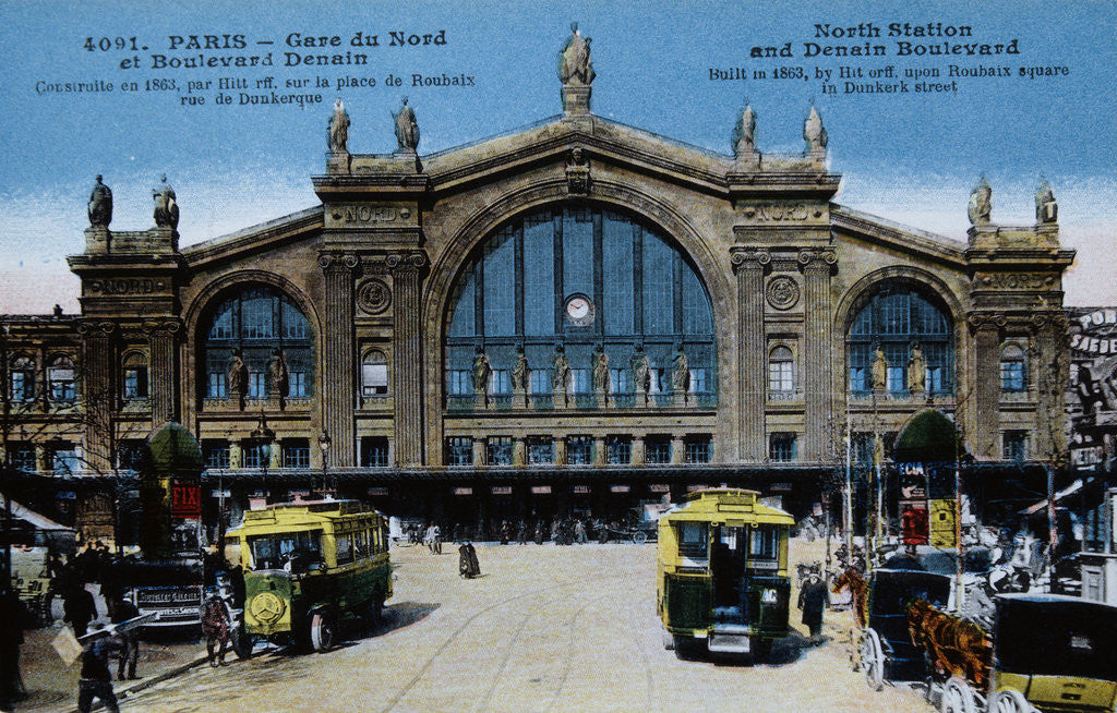 Detail of Color Print of Buses Outside Gare du Nord by Corbis