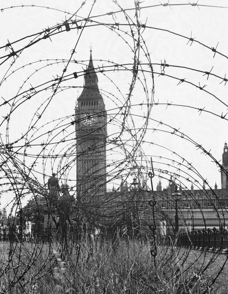 Big Ben Through Barbed Wire, ca. 1940 posters & prints by Corbis