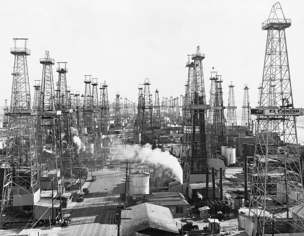 Detail of Oil Derricks in California by Corbis