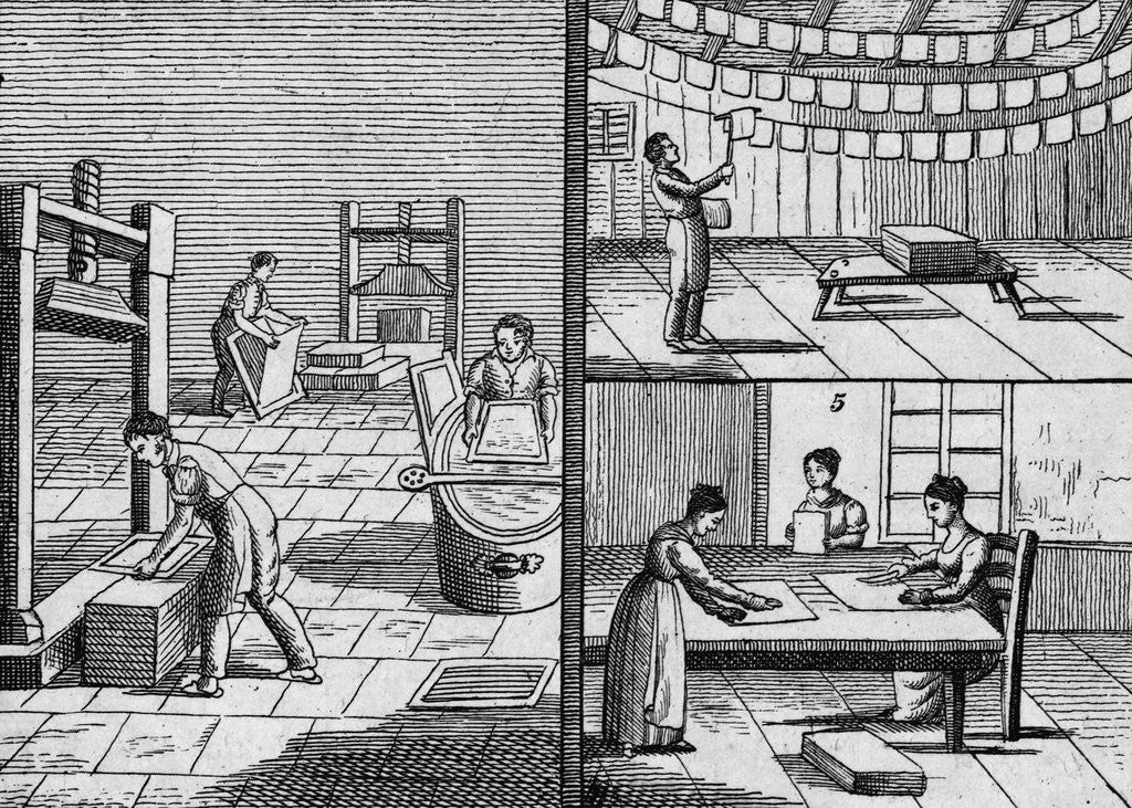 Detail of Engraving of the Process of Paper Making by Hand