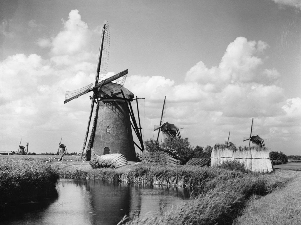 Detail of Canalside Windmills by Corbis