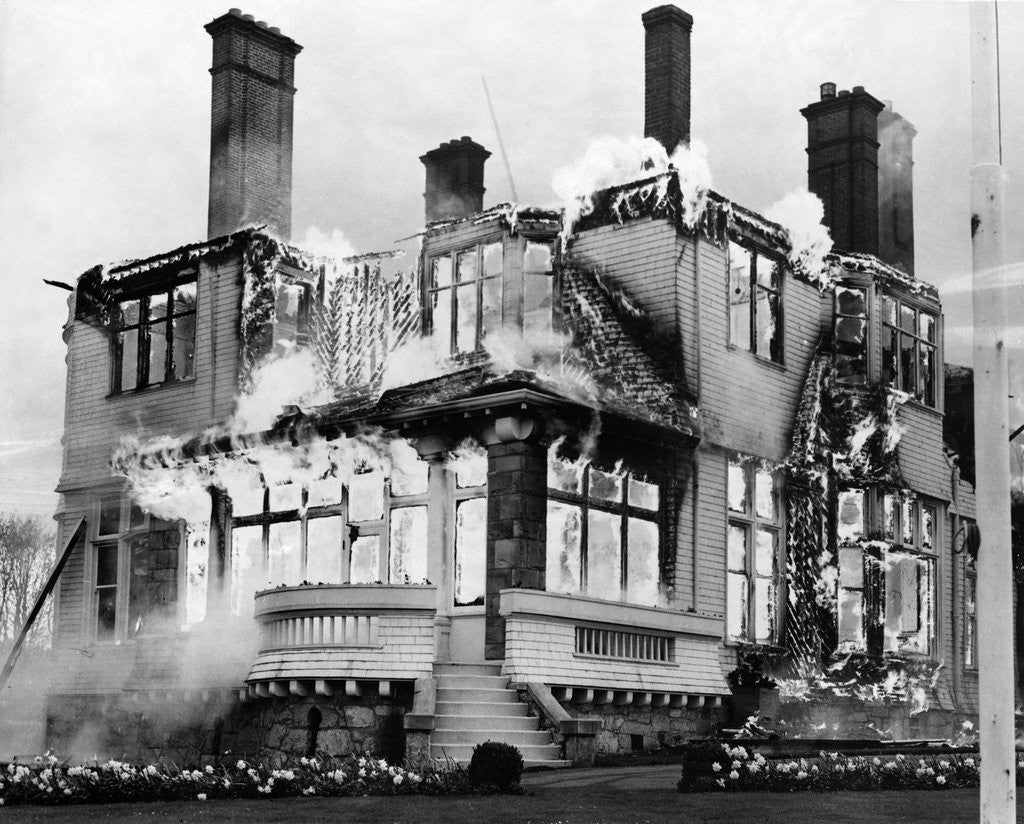 Detail of Fire at British Columbia's Government House by Corbis