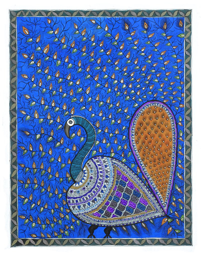 Detail of Peacock in Orange background by Maneesh