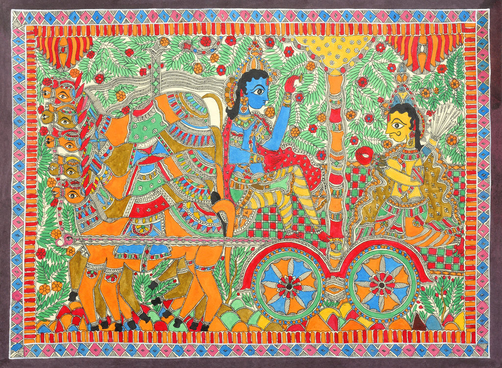 Detail of Arjuna and Krishna by Basnat
