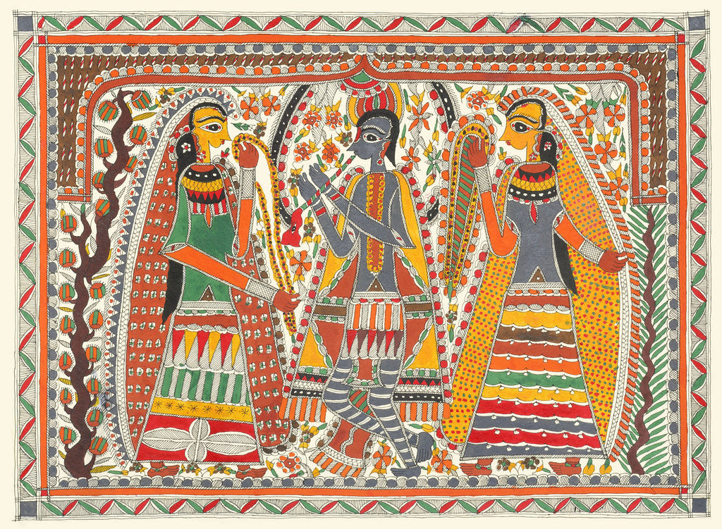 Detail of Krishna and Gopis Rasalila by Birendra