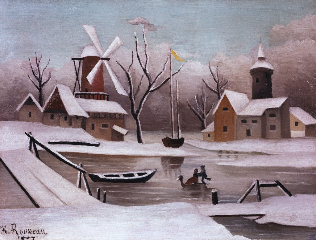 Detail of Ice Skaters on a Frozen Pond by Henri Rousseau