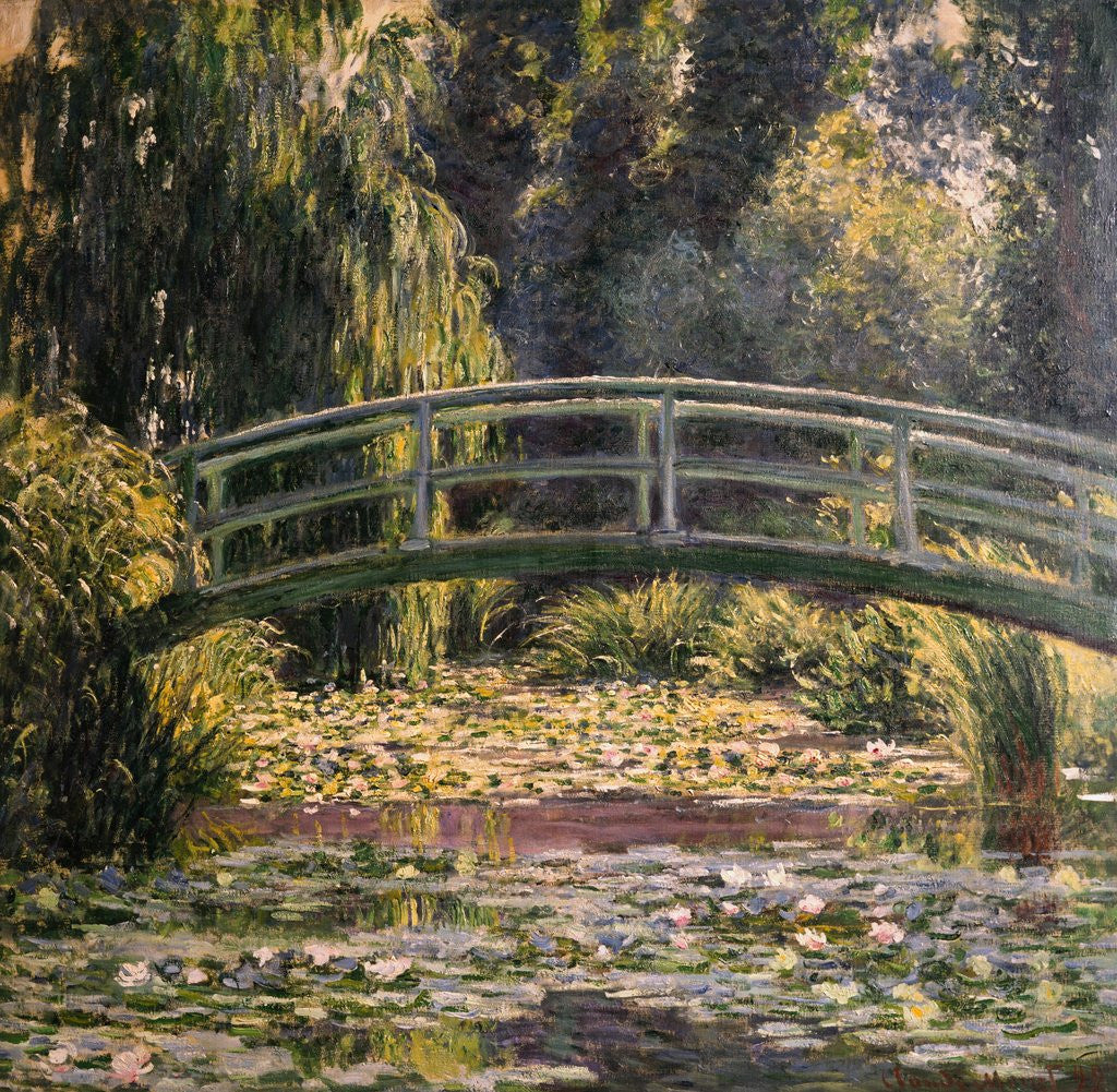 Detail of The Japanese Footbridge, Giverny by Claude Monet