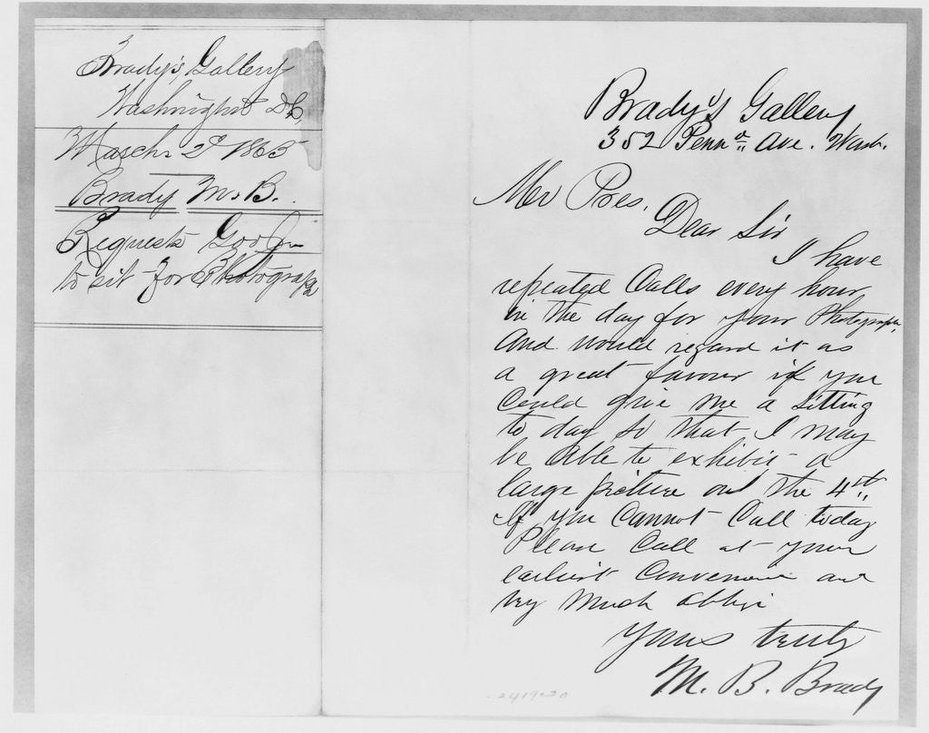 Detail of Letter to Abraham Lincoln from Mathew Brady by Corbis