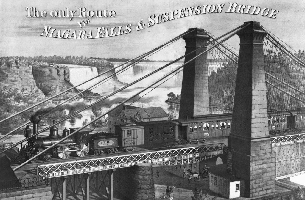 Detail of The Only Route to Niagara Falls & Suspension Bridge by Corbis