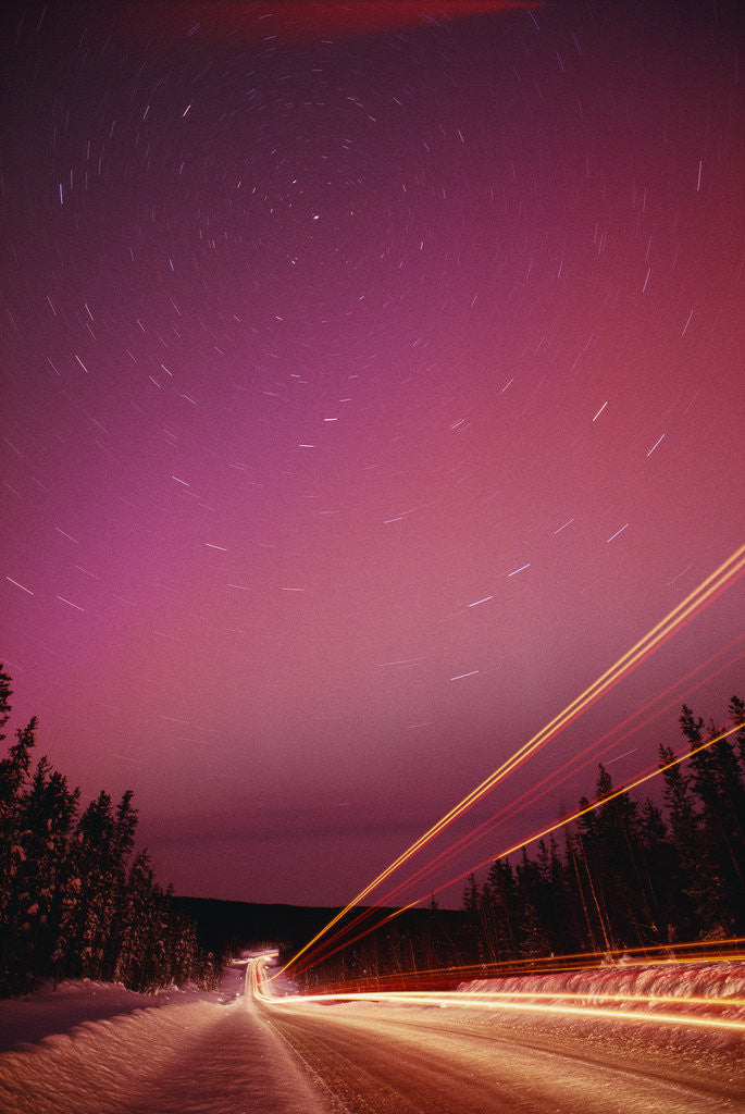 Detail of Aurora Borealis over Alaska Highway by Corbis