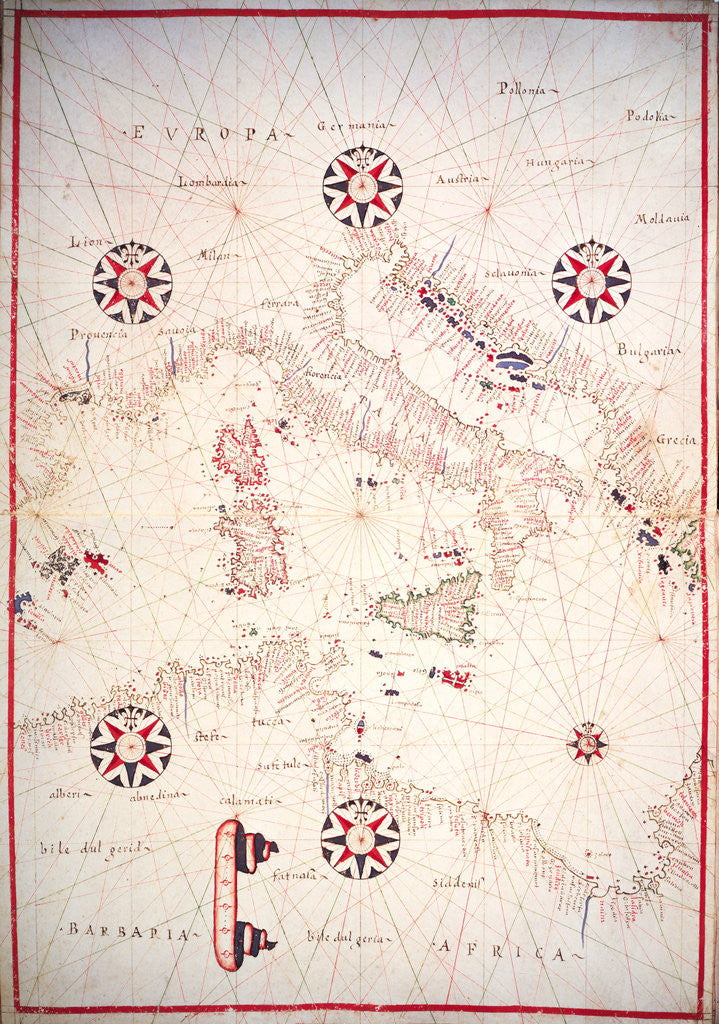 Detail of Vellum Chart of Italy and Central Mediterranean by Oliva