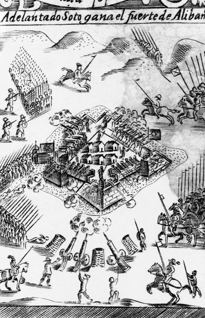 Detail of Print of De Soto's Capture of an Indian Fortified Town by Corbis