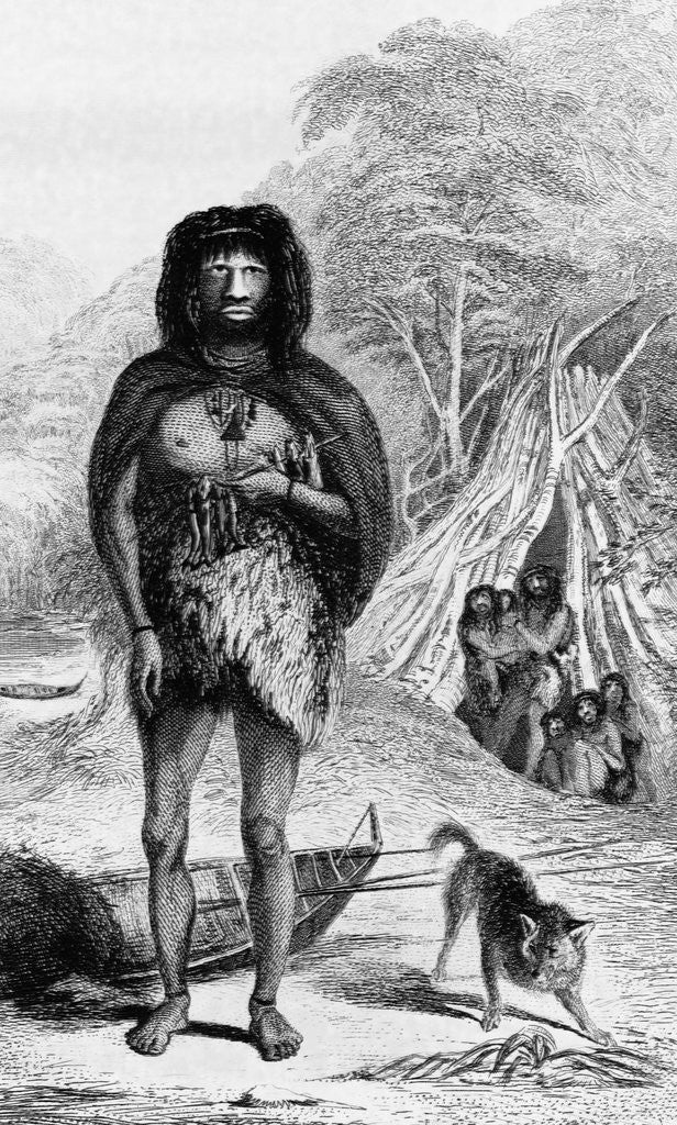 Detail of Fuegian (Yapoo Tekeenika). (Natives of Tierra del Fuego.) Frontispiece of Native of the Surveying Voyage 1839 by Corbis