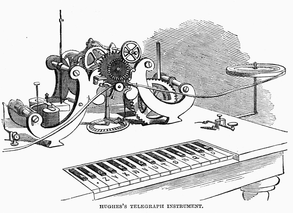 Detail of Hughes' Telegraph Instrument Wood Engr. Harper's Weekly, 1858 by Corbis