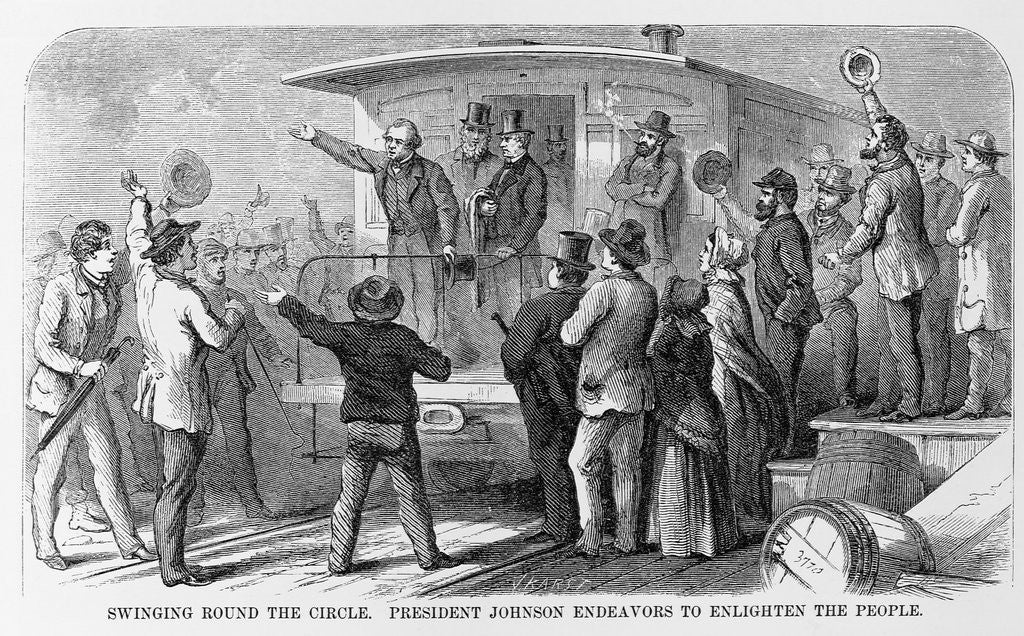 Detail of Andrew Johnson Speaking From a Train by Corbis