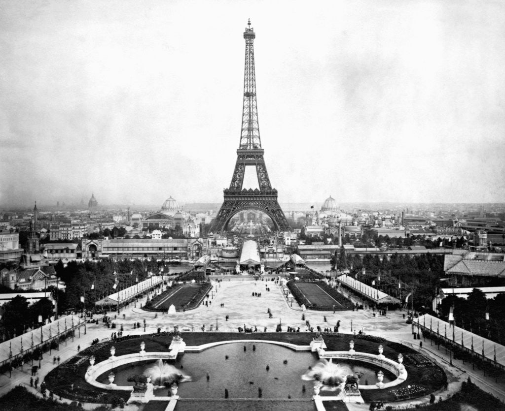 Detail of Eiffel Tower Over Exposition 1889 by Corbis