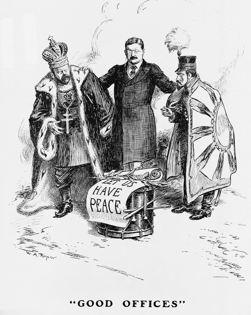 Cartoon Depicting President Teddy Roosevelt Speaking to the Russian Czar and Japanese Emperor by Corbis