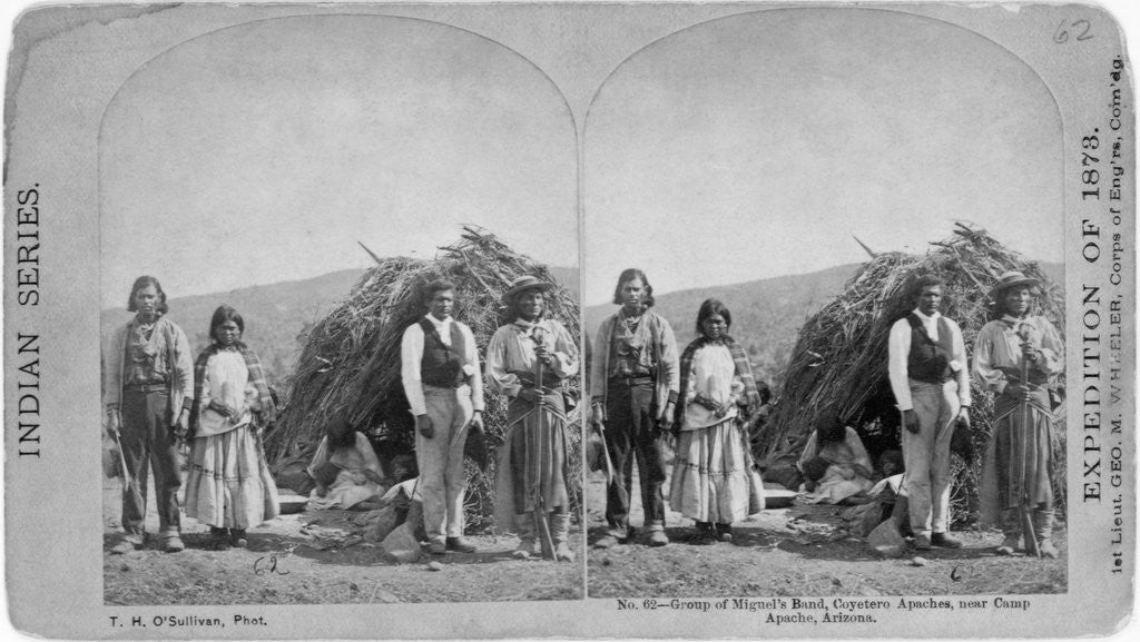 Detail of Apache Indians in Front of Wickiup by Corbis
