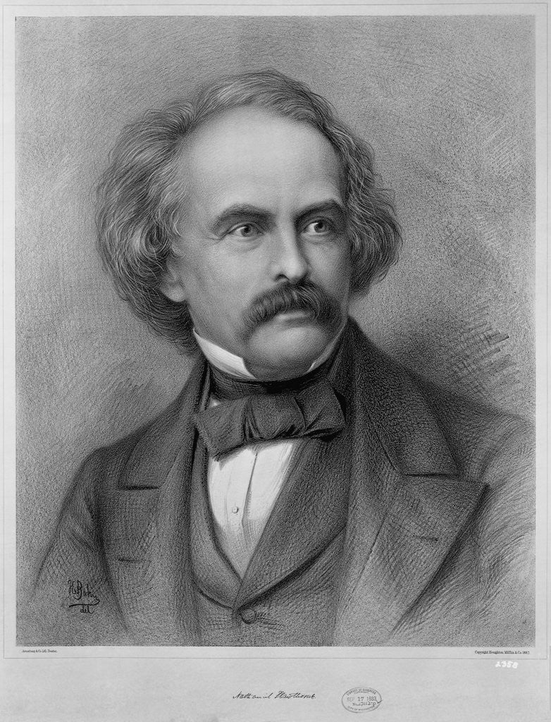 Detail of Author Nathaniel Hawthorne by Corbis