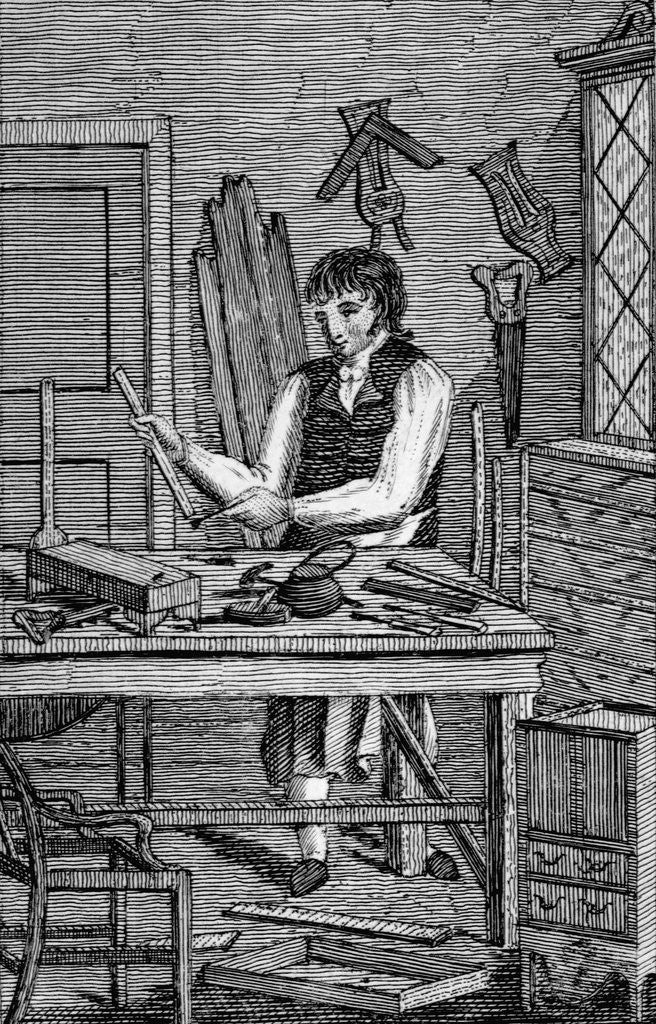 Detail of Illustration of a Cabinetmaker From Edward Hazen's Book of Trades by Corbis